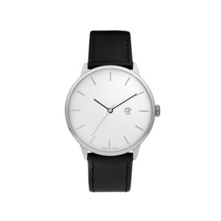 Uhr Khorshid Silver - silver black vegan leather